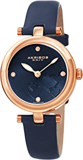 Akribos XXIV Women's Diamond Accented Heart Engraved Dial Leather Strap Watch - Packed in a Beautiful Gift Box