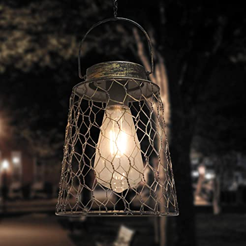 popular Solar sale 2021 Lantern Outdoor Hanging Light Waterproof Metal Solar Lantern with Edison Bulb for Patio, Backyard, Table, Pathway, Porch (Cylinder) outlet online sale