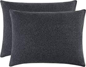 Wake In Cloud - Pack of 2 Pillow Cases, 100% Jersey Cotton Soft Comfy Pillowcases, Dark Gray Grey Top Dyed Fabric in Plain Solid Color (King Size, 20x36 Inches)