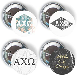 Alpha Chi Omega Sorority Marble Variety Pack of Buttons Pin Back Badge 2.25-inch AXO - Marble Pack