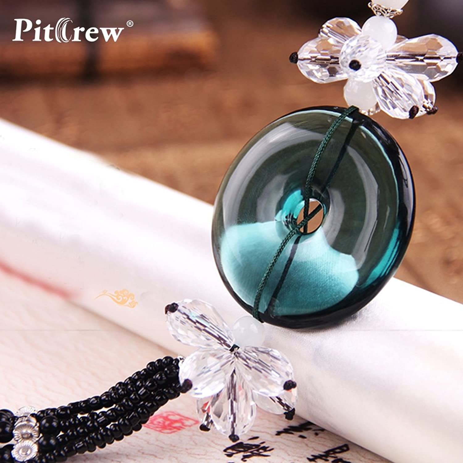 DaphotStore  Luxury Replica Crystal Wish Your Safety  Car Pendant Car Accessories Hanging Ornament for Car Rearview Mirror
