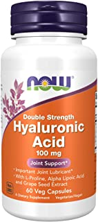 NOW Supplements, Hyaluronic Acid 100 mg, Double Strength with L-Proline, Alpha Lipoic Acid and Grape Seed Extract, 60 Veg ...