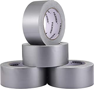 Heavy Duty Silver Duct Tape - Professional Grade Duct Tape-4 Rolls Silver,50mm×27.4m(1.96Inch×30Yard) - Bulk Value Pack of...