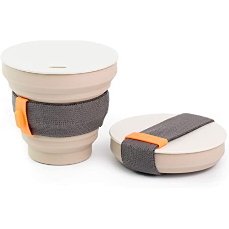 HUNU Leakproof Pocket Cup Collapsible Coffee Cup | Reusable Coffee Cup Travel Mugs for Hiking Cycling Camping - BPA Free Portable Espresso Silicone Cups with Lids - 9 oz (Warm Grey)