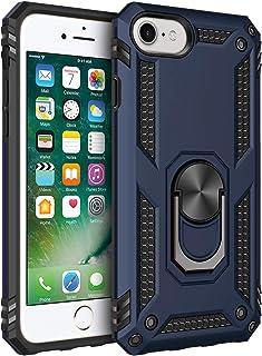 ZOTASKO iPhone SE 2020 case - Magnetic Shockproof Adsorption Hard Armor Ring Holder Kickstand with Back Metal Plate for ca...
