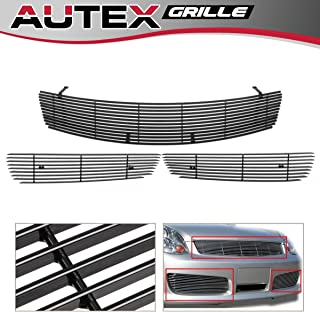 AUTEX Aluminum Horizontal Billet Grill Grille Combo Compatible with Infiniti G35 Sedan 2005-2006 N87878A