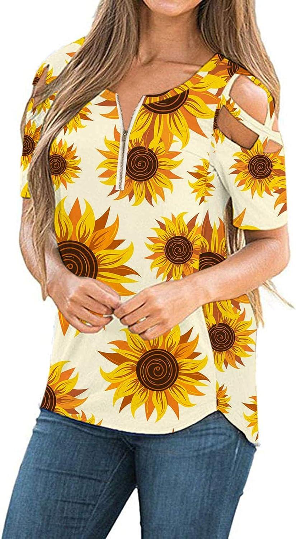 Womens Summer T Shirts Short Sleeve Cold Shoulder おすすめ特集 お金を節約 USA Casua Tops