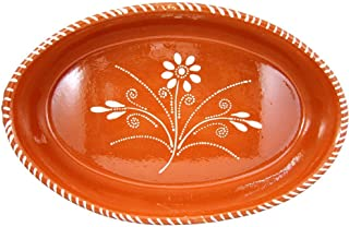 Vintage Portuguese Traditional Clay Terracotta Pottery Oval Casserole Made In Portugal (N.2 15 x 9 1/2 x 2 3/4