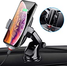 Wireless Car Charger Mount,Automatic Sensing Clamping Car Mount Holder, 7.5w/10w Qi Fast Charging Car Phone Holder Compatible with iPhone Xs/Xs Max/XR/X/ 8/8 Plus,Galaxy S10/9