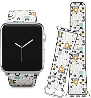 Compatible with Apple Watch (42/44 mm) // Leather Replacement Bracelet Strap Wristband + Adapters // Childish Vikings Trendy