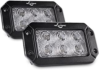 MICTUNING 2PCS 18W Flush Mount Led Pods, Flood Led Work Light Bar, Off Road Backup Driving Lights Fog Lamp for Jeep Bumper ATV UTV SUV Truck Boat