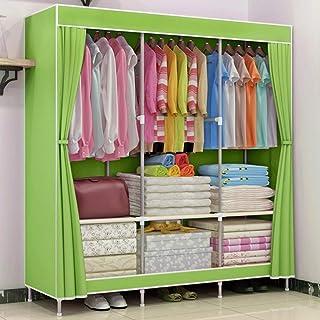 MKXF Armoire à vêtements portative en Tissu Non tissé, Armoire à Double Tige, Organisateur de Rangement