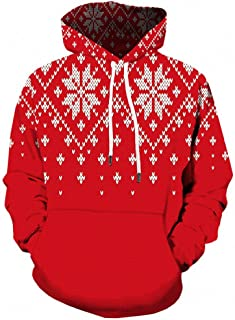 Mens Casual Christmas Elk Funny 3D Print Party Long Sleeve Hoodie Top Snow Coat