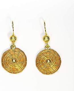 Pendientes Dorados Mandala 2cm en Oro Vegetal con punto