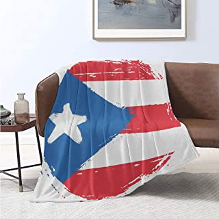 jecycleus Puerto Rico Luxury Special Grade Blanket Arrangement Oval Shaped Flag Weathered Composition Old Style Multi-Purpose use for Sofas etc. W57 x L74 Inch White Dark Pink and Blue