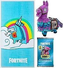 Fortnite Blue Unicorn Purple Llama Plush Character Bundled with Beach Brite Bath Towel Gamer Series Bundled Trading Action Cards 3 Items
