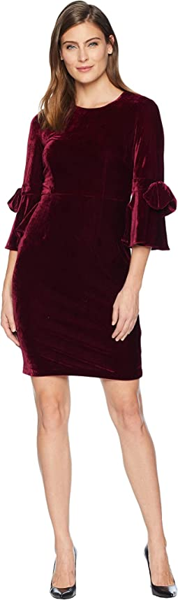 Velvet 3/4 Bell Sleeve Sheath Dress w/ Bow Detail