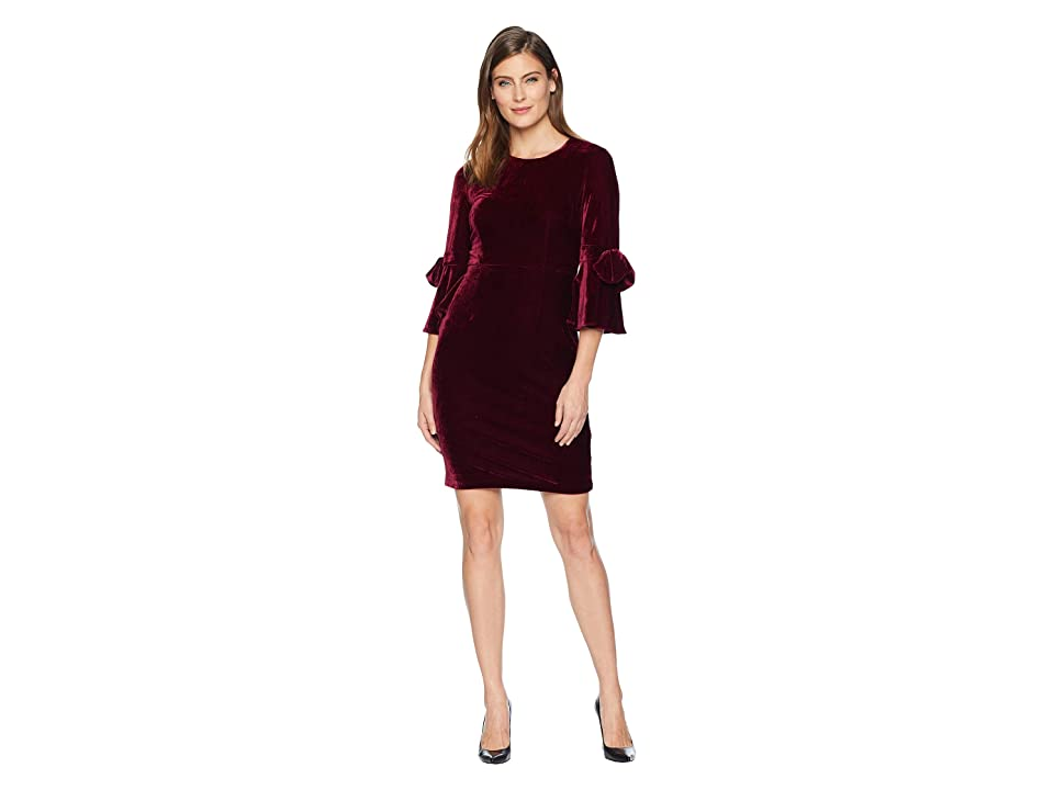 Donna Morgan Velvet 3/4 Bell Sleeve Sheath Dress w/ Bow Detail (Wine Burgundy) Women