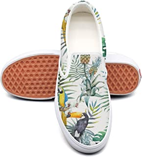 SEERTED Topical Hawaii Tucan Parrot Pineapple Canvas Shoes Women Casual