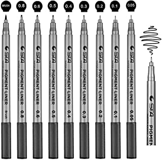 Meterk Mildliner Markers for Adult Coloring Pens, Funnasting Set of 9 Fine Liner Pens Black Ink (0.05mm-0.8mm) Waterproof ...
