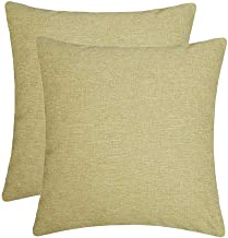 Jepeak Comfy Throw Pillow Covers Cushion Cases Pack of 2 Cotton Linen Farmhouse Modern Decorative Solid Square Pillow Cases for Couch Sofa Bed (Pea Green, 16 x 16 Inches)