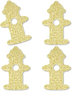 Big Dot of Happiness Gold Glitter Fire Hydrant - No-Mess Real Gold Glitter Cut-Outs - Fired Up Fire Truck/Firefighter Firetruck Baby Shower or Birthday Party Confetti - Set of 24