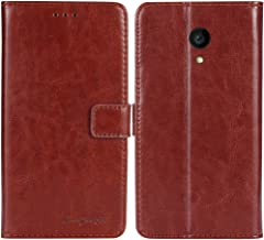 TienJueShi Brown Book-Style Flip Leather Protector Case Cover Skin Etui Wallet for Allview P4 PRO 4.2 inch