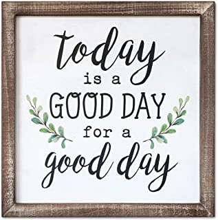 SANY DAYO HOME Wall Decor Signs with Inspirational Quotes and Sayings Rustic Wood Framed Modern Farmhouse Wall Hanging Art (Today is A Good Day to Have A Good Day with Leaves)