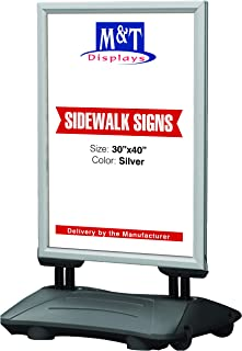 Outdoor Display Advertising Sidewalk Sign for 30x40 Inch Posters, Snap Open Frame, Double Sided, Water Base, High Wind Resistant with Spring Base