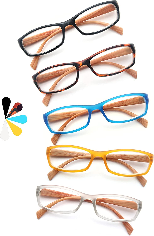 Un Pack de 5 Gafas de Lectura 2.0 Efecto Madera/Gafas para Presbicia para Hombres y Mujeres,Buena Vision Ligeras Comodas,Vista de Cerca/Vista Cansada