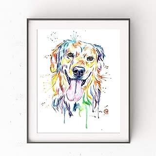 Golden Retriever Wall Art by Whitehouse Art | Golden Retriever Gifts, Dog Gifts For Dog Lovers, Playroom Decor, Dog Mom | Professional Print of Golden Retriever Original Watercolor Painting | 5 Sizes
