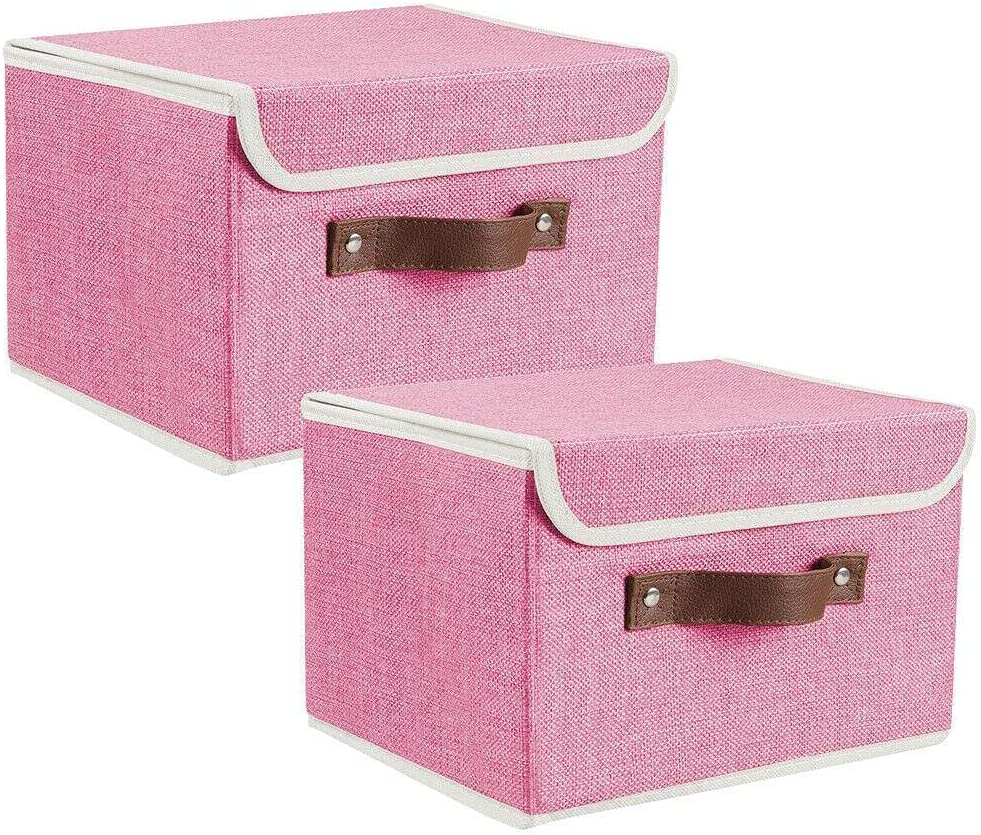 Direct stock discount Linen Fabric Storage Bin w Selling Lid for Clot Leather Handle Toys and