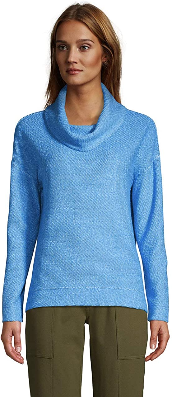 Lands' End Women's Long Sleeve Textured Cowl Neck Sweatshirt