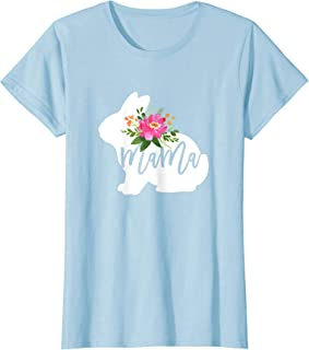 Womens Mama Bunny Watercolor Floral T-Shirt Easter Gift for Mom