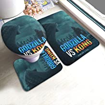 3 Piece Bathroom Rug Set, Non-Slip Bath Rug, Extra Large, 3D Godzilla Vs Kong Poster Who Will Be King Shower Rugs for Baby Hotel Shower