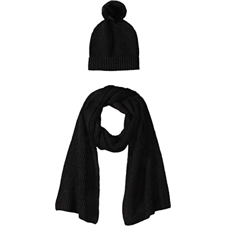 Amazon Essentials Women's Pom Knit Hat and Scarf Set