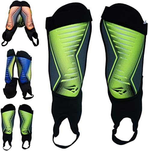 "New Champion Plastic Form Fit Soccer Shin Guards Adjustable Strap 7/"" Long Junior"