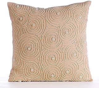 Handmade Beige Euro Sham, 65x65 cm (26x26 inch) Euro Cushion, Pearl Beads Swirls Pattern Euro Cushion Shams, Square Cotton...