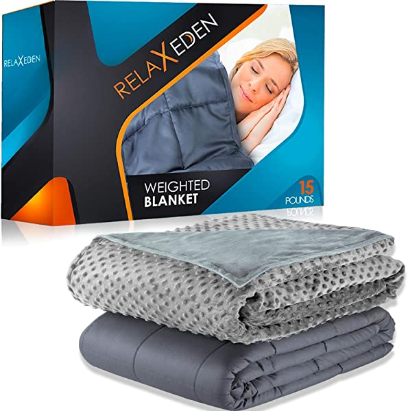 RELAX EDEN Weighted Blanket W Removable Washable Duvet Cover Heavy Glass Micro Beads Supreme Sleeping Comfort For Adults 100 Soft Cotton Build Gray Blanket Gray Cover 60 X80 15lbs