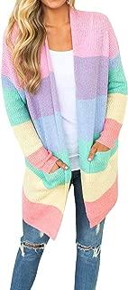 Women Fashion Knitwear Open Front Long Sleeve Rainbow Striped Pockets Cardigan Blouse