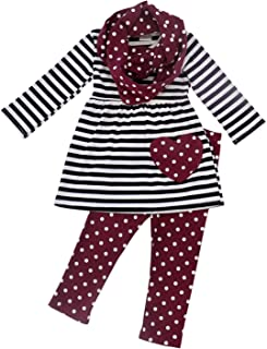 So Sydney Toddler Girls 3 Pc Valentine's or St. Patrick's Day Holiday Outfit & Infinity Scarf
