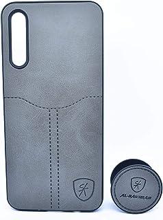 غطاء حماية خلفي جلدية مع مسكة لهاتف سامسونج جالكسي A30S - رمادي