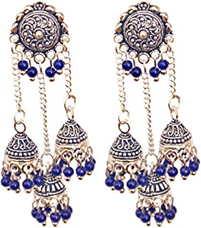 Pahal Ethnic Layered Blue Pearl Bahubali Long Silver Jhumka Earrings Indian Bollywood Wedding Jewelry Set for Women