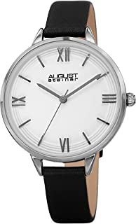 August Steiner AS8263 Designer Women's Watch - Genuine Leather Bracelet Strap, Enamel Dial with Grooved Border Lines – 3 Handed Quartz Movement