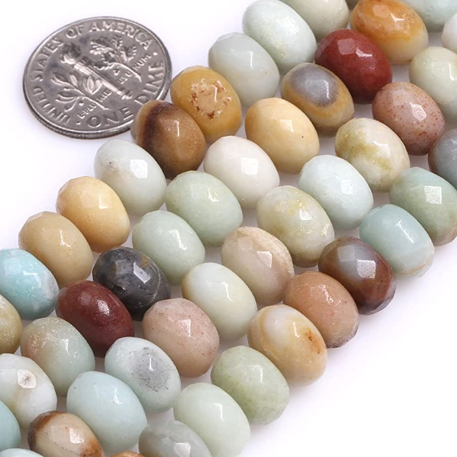 GEM-Inside Natural Faceted 6x10mm Abacus Beads Amazonite Gemstone Loose Beads for Jewelry Making Jewelry Beading Supplies for Women