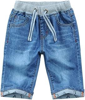 Child Boys Mid Waist Elastic Straight Stretch Summer Capris Cropped Denim Jeans Shorts 3T-12