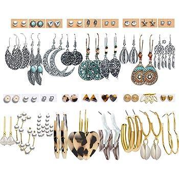 36 Pairs Boho Vintage Drop Dangle Earrings Set for Women Girls Fashion National Style Hollow Moon Shaped Statement Dangle Earrings Jewelry Hypoallergenic