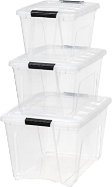 IRIS USA, Inc. TB-56D/28/17 Combo, Stack & Pull Box, 19, 31.75 and 53 Quart, Clear, 3 Count