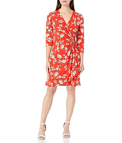 Calvin Klein 3/4 Sleeve Faux Wrap Dress With Hardware