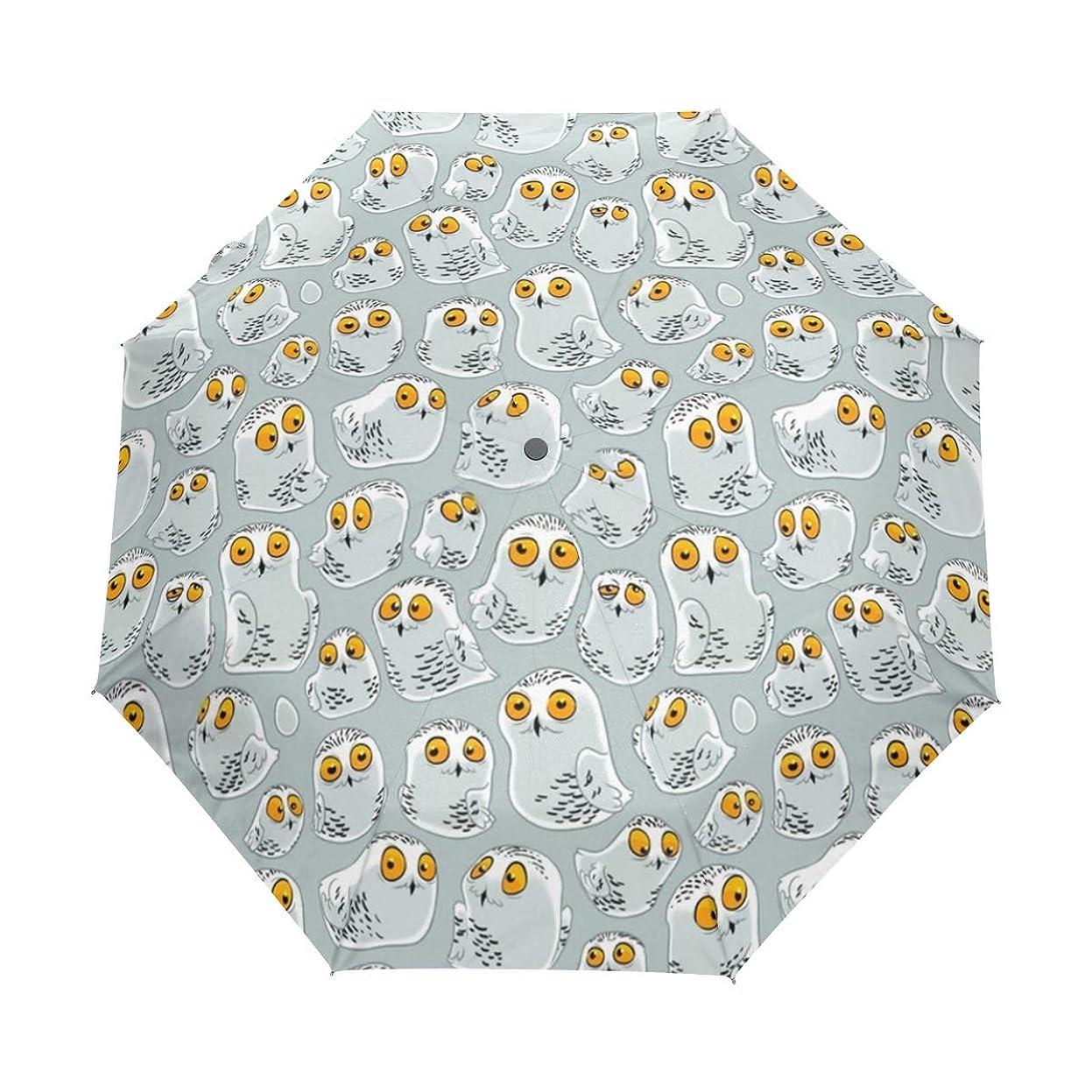 軍隊褐色強制折りたたみ傘 主题柄 日傘 晴雨兼用 遮光 遮熱 UPF50 UV 紫外線 99% カット レディース 8本骨 人気 可愛 梅雨対策 通勤 通学 (雪のフクロウ )